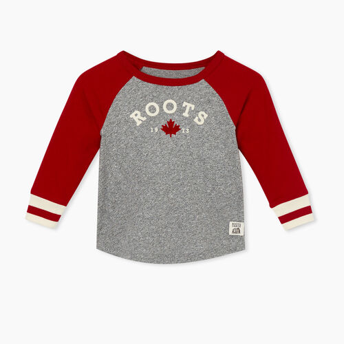Roots-Sale Baby-Baby Cabin Baseball T-shirt-Cabin Red-A