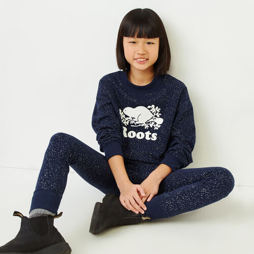 Roots-Kids Our Favourite New Arrivals-Girls Sparkle Cozy Sweatshirt-Navy Blazer-A