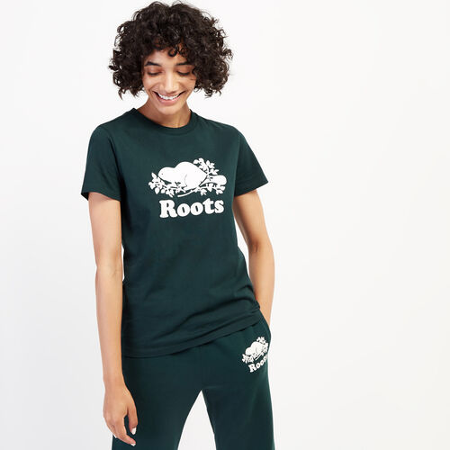 Roots-Women Graphic T-shirts-Womens Cooper Beaver T-shirt-Varsity Green-A