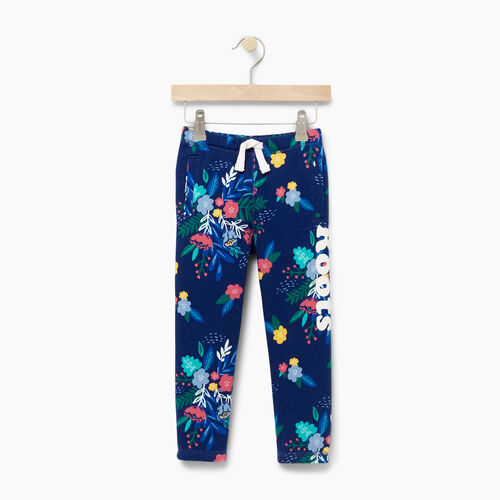 Roots-Kids Bottoms-Toddler Roots Remix Floral Sweatpant-Blue Depths-A