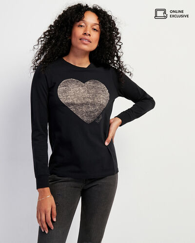 Roots-Women Graphic T-shirts-Womens Love Roots Long Sleeve T-shirt-Black-A