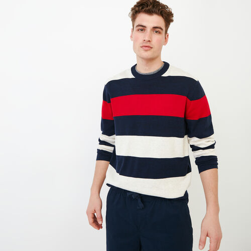 Roots-Men Sweaters & Cardigans-Shall Lake Stripe Crew Sweater-White-A