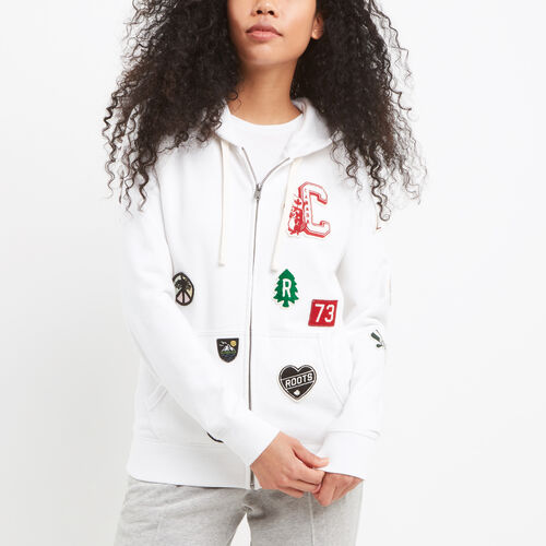 Roots-Winter Sale Sweats-Camp Patches Full Zip Hoody-White-A