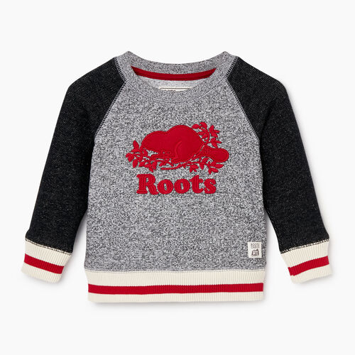 Roots-Kids Our Favourite New Arrivals-Baby Roots Cabin Crew Sweatshirt-Salt & Pepper-A
