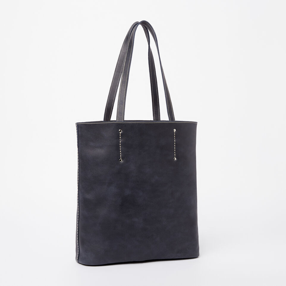 Roots-Winter Sale Leather-Large Downtown Tote Tribe-Dark Navy-C