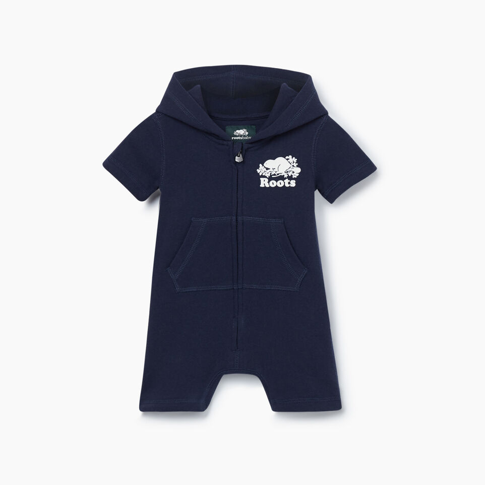 Roots-Kids New Arrivals-Baby Cooper Beaver Kanga Romper-Navy Blazer-A