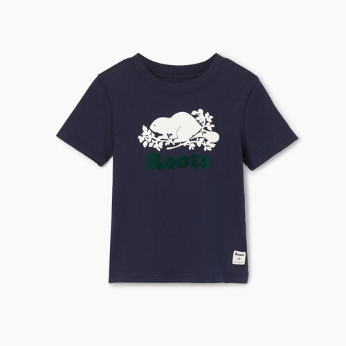Roots-Kids Tops-Toddler Original Cooper Beaver T-shirt-Navy Blazer-A