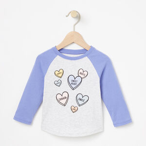 Roots-Kids T-shirts-Baby Watercolour Baseball Top-White Mix-A