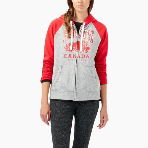 Roots-Women Sweats-Classic Colourblocked Hoody-Lollipop-A
