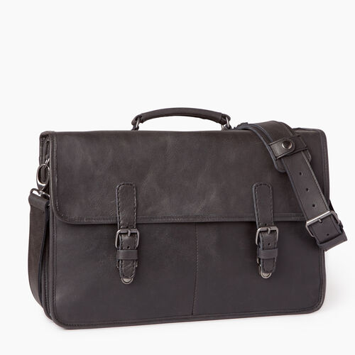 Roots-Leather  Handcrafted By Us Our Favourite New Arrivals-The Original Briefcase Tribe-Jet Black-A