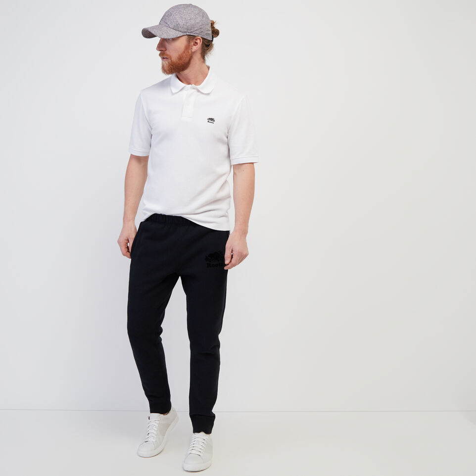 Roots-Men New Arrivals-Heritage Pique Polo-White-B