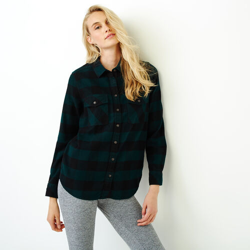 Roots-Women Categories-Park Plaid Shirt-Park Green-A