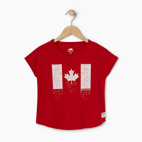 Roots-Sale Kids-Girls Confetti Canada T-shirt-Sage Red-A