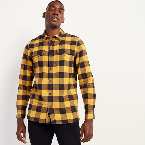 Roots-New For November Men-Park Plaid Shirt-Squash Yellow-A
