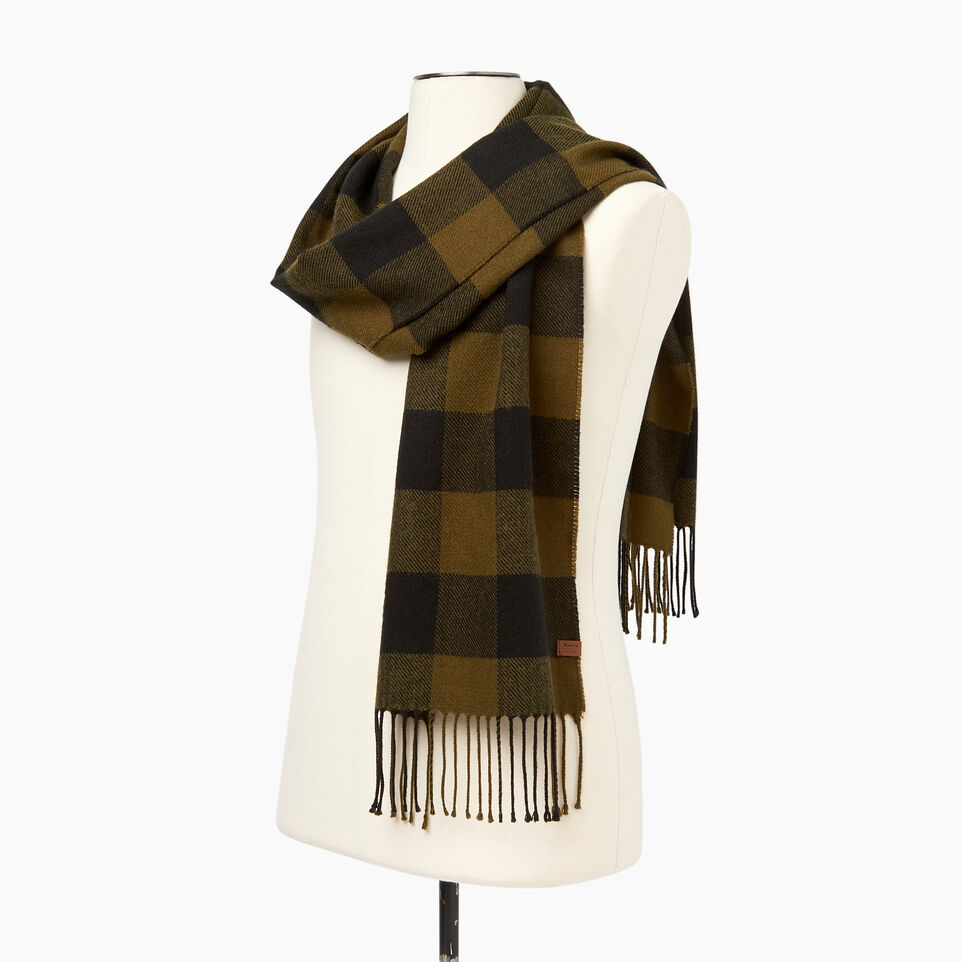 Roots-Men Our Favourite New Arrivals-Roots Park Plaid Scarf-Dark Olive Green-C