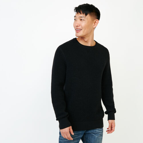 Roots-Men Our Favourite New Arrivals-Vault Waffle Sweater-Black-A
