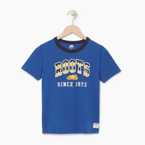 Roots-Kids T-shirts-Boys Rainbow Arch Roots T-shirt-Active Blue-A