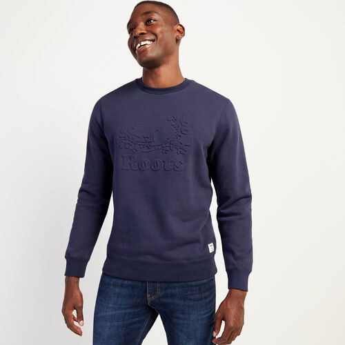 Roots-Men New Arrivals-Embossed Cooper Crew Sweatshirt-Navy Blazer-A
