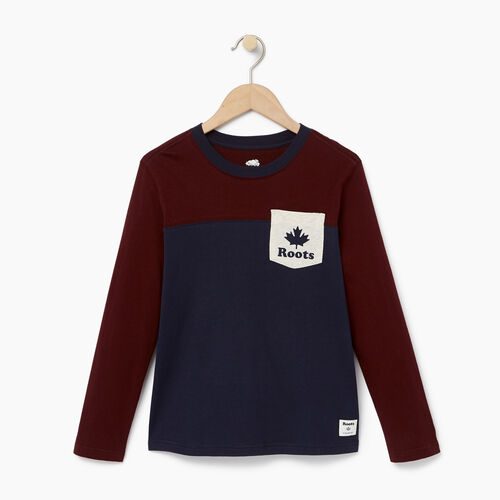 Roots-Winter Sale Kids-Boys Colourblock Pocket T-Shirt-Crimson-A
