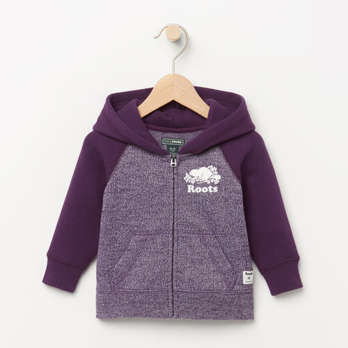 Roots-Clearance Kids-Baby Original Full Zip Hoody-Purple Pennant Peppr-A