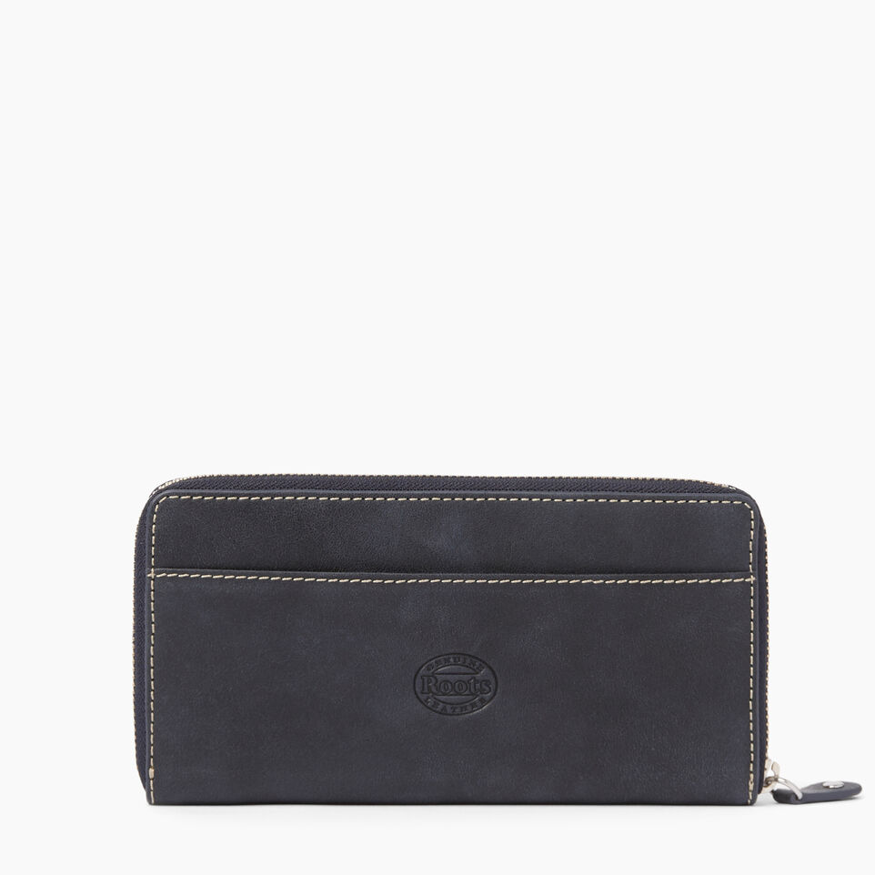 Roots-Clearance Leather-Zip Around Wallet Tribe-Dark Navy-C