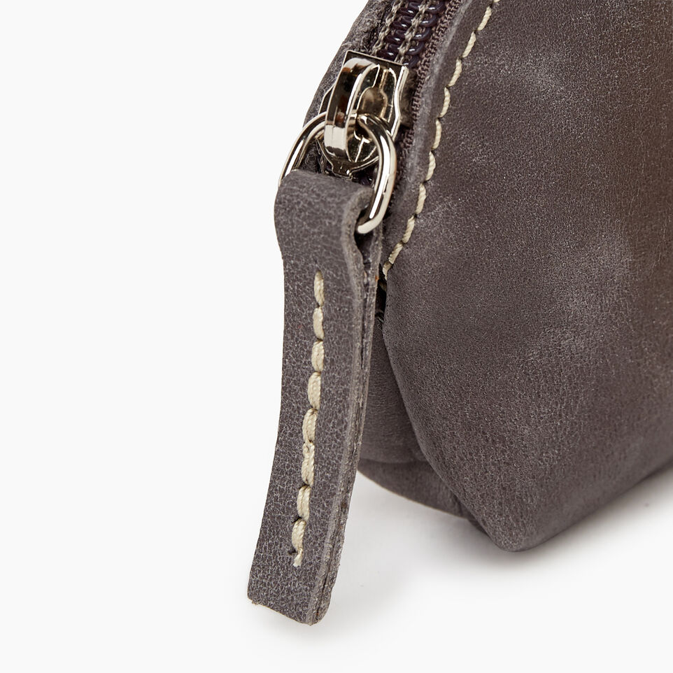 Roots-Women Leather Accessories-Small Euro Pouch-Charcoal-C