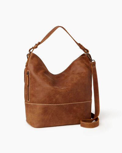 Roots-Women Shoulder Bags-West End Hobo-Natural-A