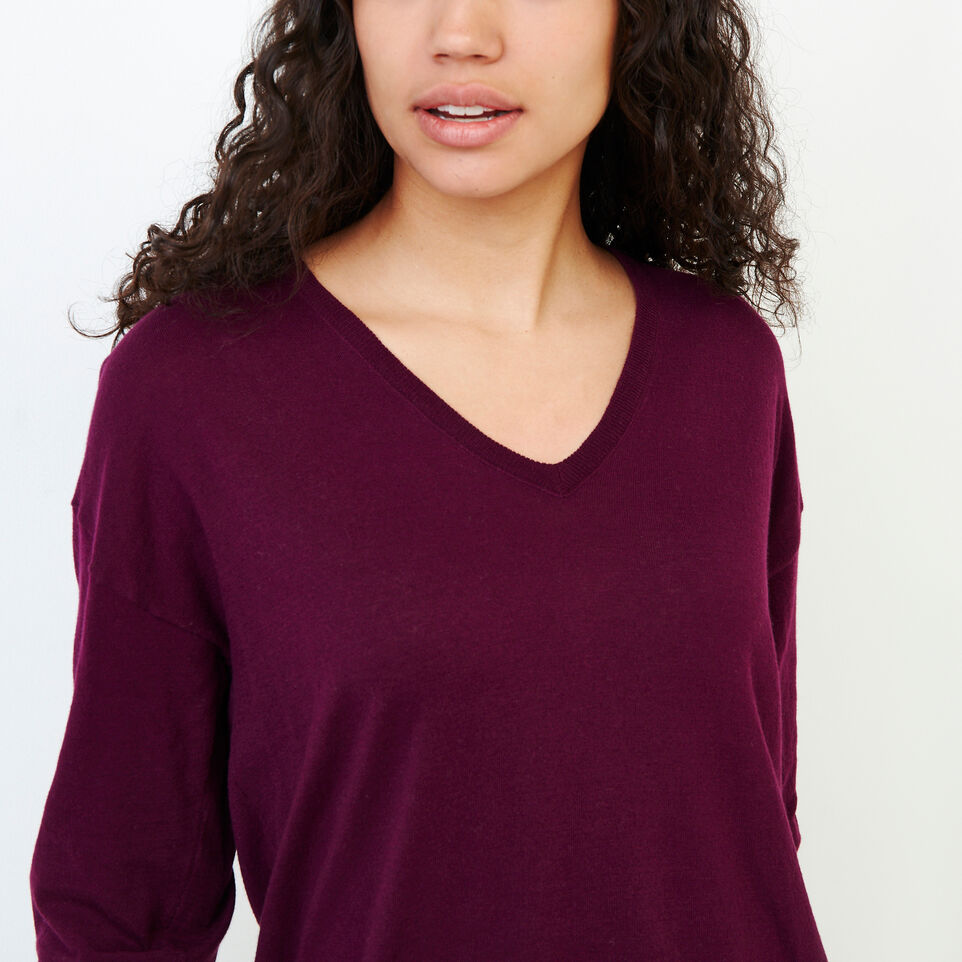 Roots-Women Categories-Fauna V Neck Sweater-Pickled Beet-E