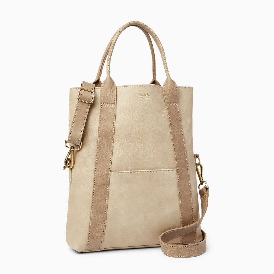 Roots-Leather  Handcrafted By Us Handbags-Annex Tote-Sand/latté-A