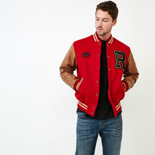 Roots-Men Clothing-Roots Script Award Jacket-Red-A
