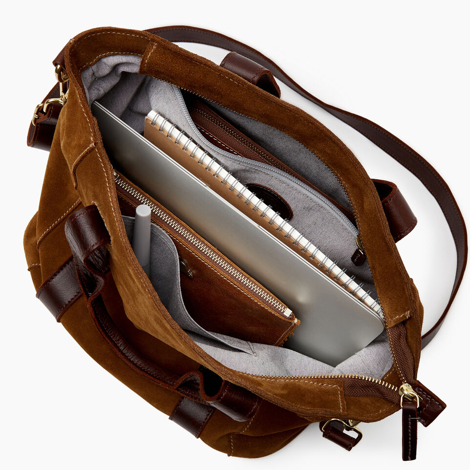 Roots-Leather  Handcrafted By Us Our Favourite New Arrivals-Victoria Tote Suede-Tan-D