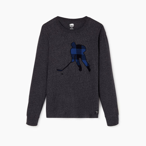 Roots-Men Our Favourite New Arrivals-Mens Plaid Hockey Long Sleeve T-shirt-Black Pepper-A