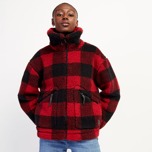 Roots-Women Jackets & Outerwear-Park Plaid Sherpa Jacket-Cabin Red-A