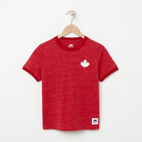 Roots-Kids Boys-Boys Cabin Ringer T-shirt-Sage Red Mix-A