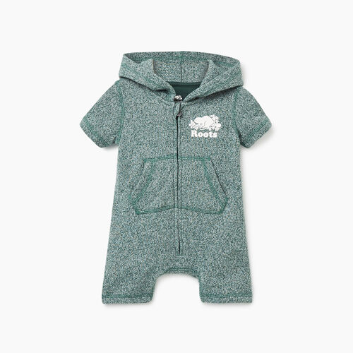 Roots-Kids Rompers & Onesies-Baby Cooper Beaver Kanga Romper-Hunter Green Pepper-A