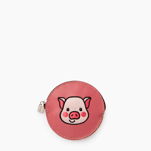 Roots-Women Leather Accessories-Pig Coin Pouch-Rose Pink-A