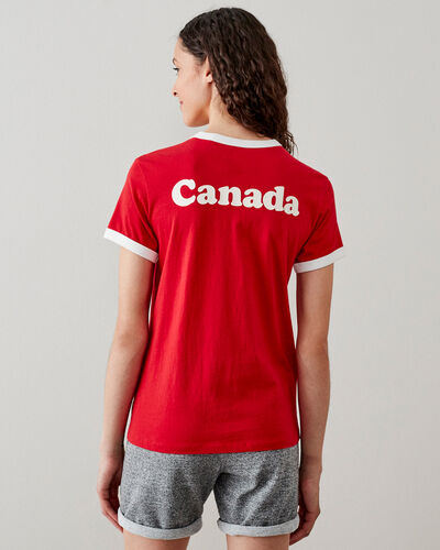Roots-Women Graphic T-shirts-Womens Canada Ringer T-shirt-Sage Red-A