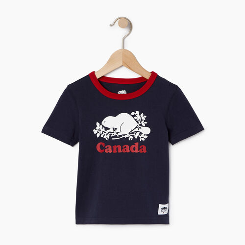 Roots-Kids Tops-Toddler Cooper Canada Ringer T-shirt-Navy Blazer-A