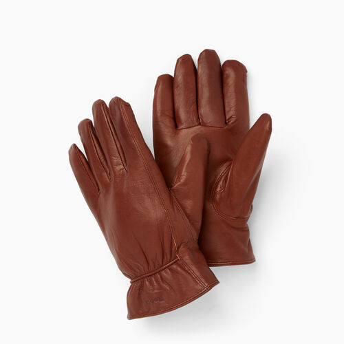 Roots-Men Leather Accessories-Mens Classic Nappa Glove-Brown-A