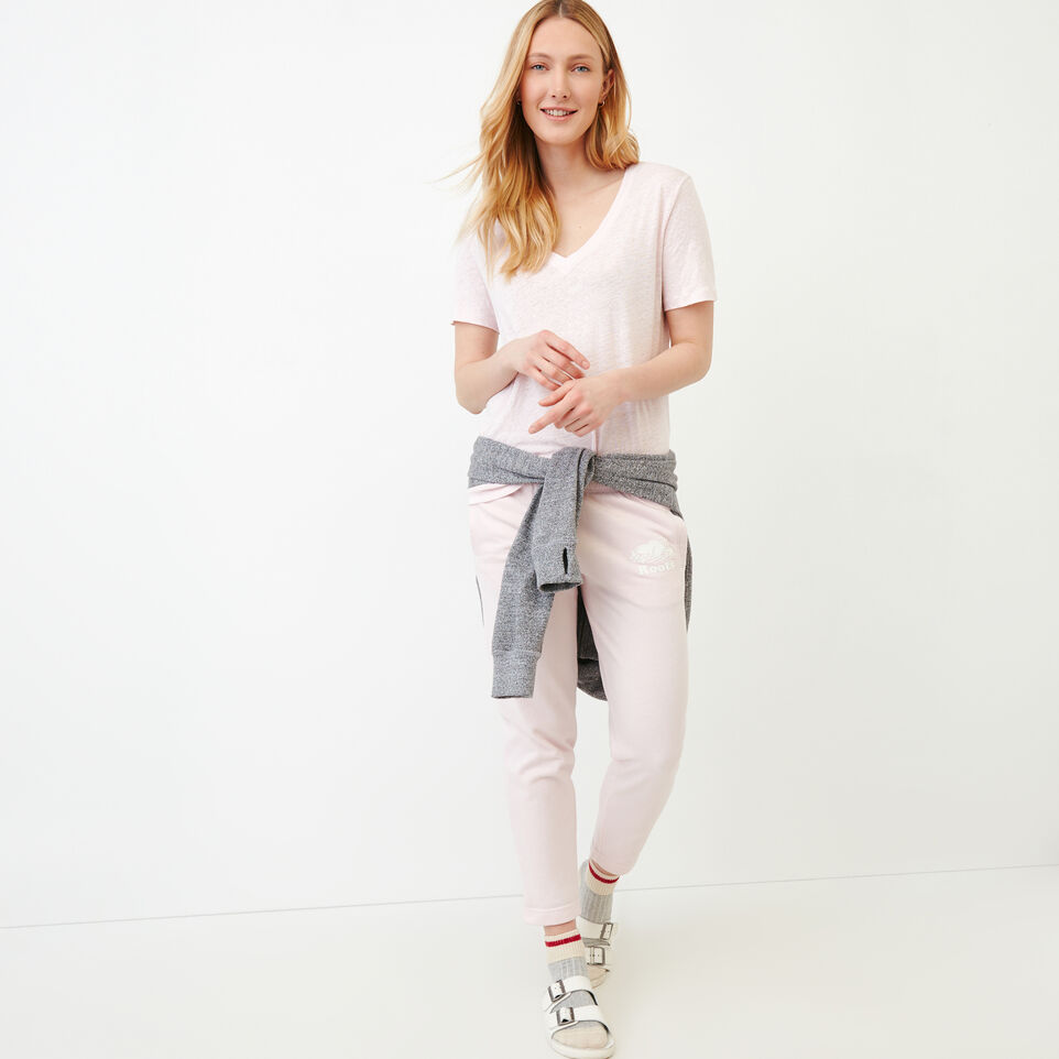 Roots-Women Our Favourite New Arrivals-Linen V Neck Top-Cradle Pink-B