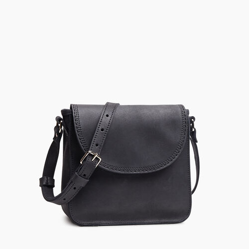 Roots-Leather Handbags-Canmore Crossbody Tribe-Jet Black-A