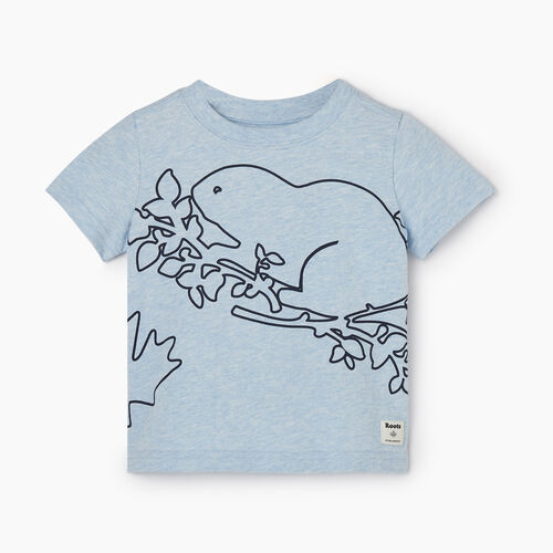 Roots-Kids Baby-Baby Super Cooper T-shirt-Celestial Blue Mix-A