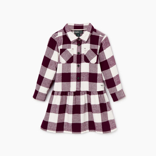 Roots-Sale Kids-Toddler Park Plaid Dress-Pickled Beet-A