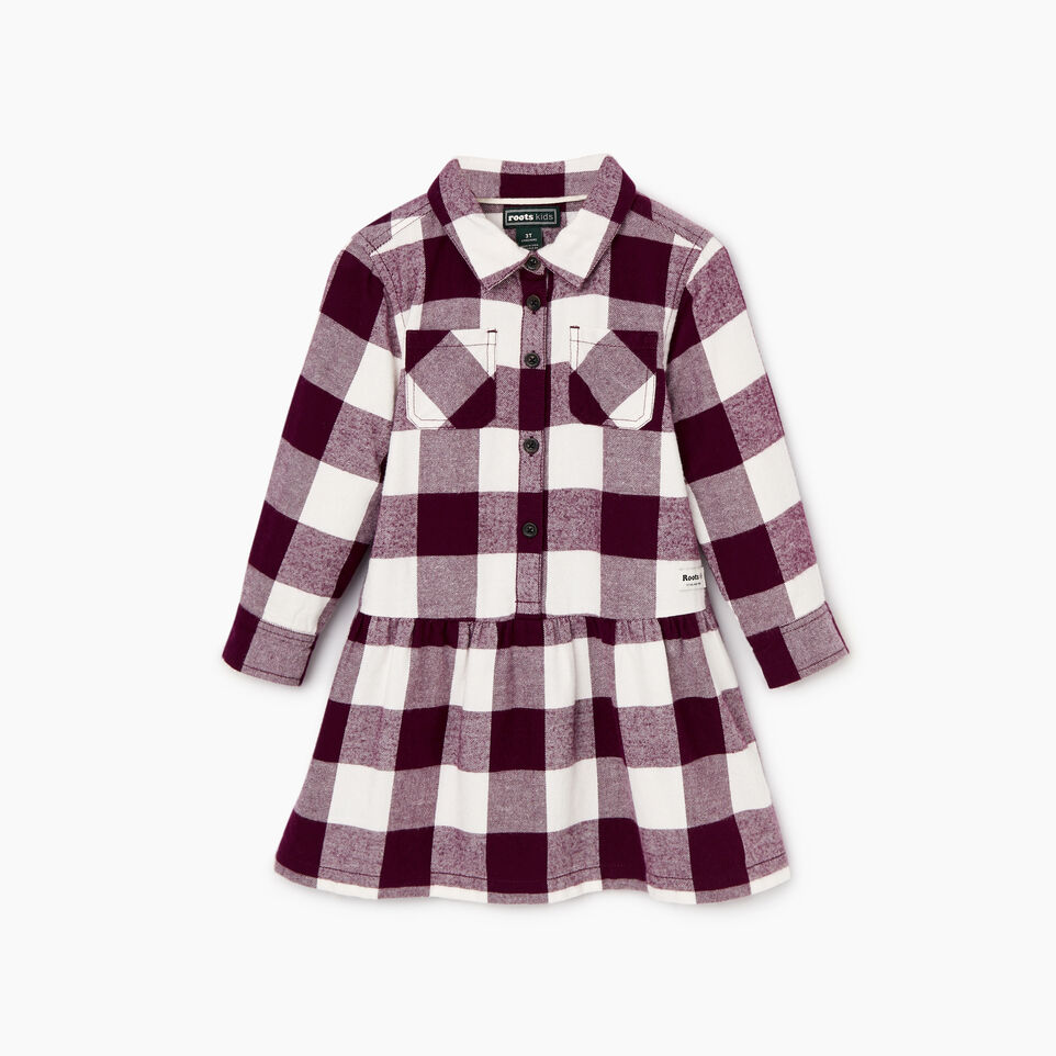 Roots-Kids Dresses-Toddler Park Plaid Dress-Pickled Beet-A