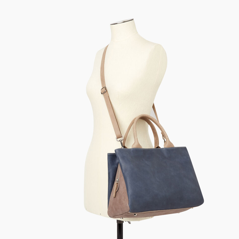 Roots-Leather Collections-Mont Royal Bag - Colour Block-Navy-B