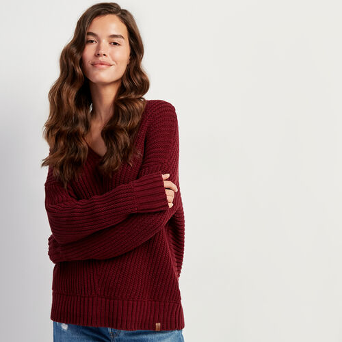Roots-Women Sweaters & Cardigans-Elora V-neck Sweater-Mulberry-A