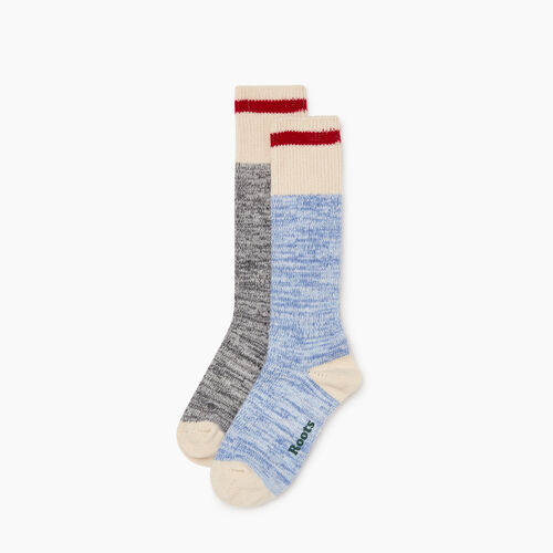 Roots-Women Categories-Womens Cotton Cabin Sock 2 Pack-Blue-A
