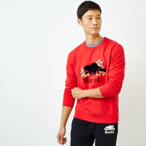 Roots-Men Tops-Lunar New Year Slim Crew Sweatshirt-Racing Red-A