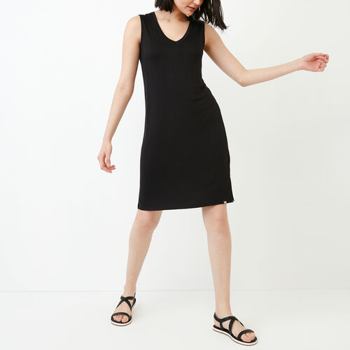 Roots-Women Dresses-Georgian V Neck Dress-Black-A