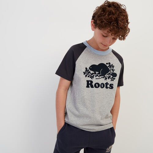 Roots-Kids New Arrivals-Boys Cooper Baseball T-shirt-Grey Mix-A